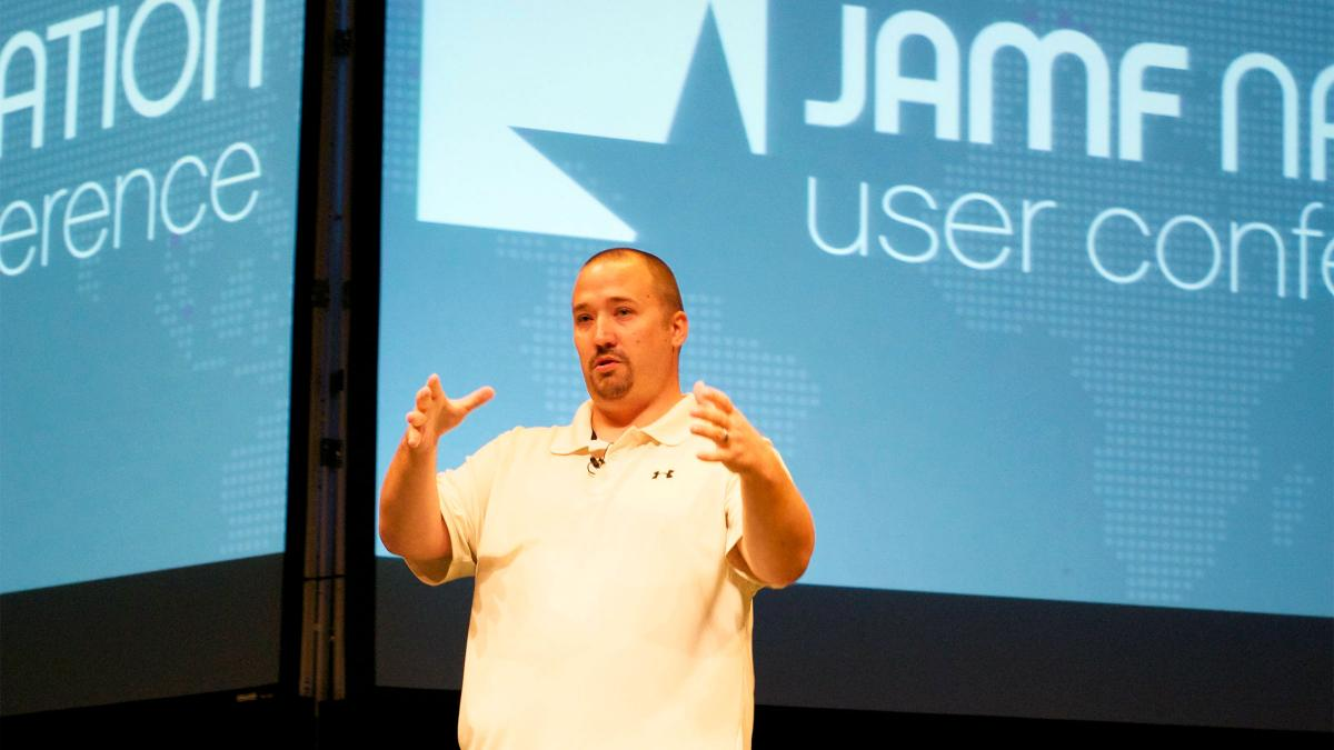 Jason Ragsdale talks about introducing Macs into a Windows infrastructure at the JAMF Nation User Conference