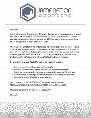 Use this letter to convince your boss to let you go to the 2015 JAMF Nation User Conference (JNUC).