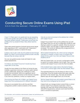 Conducting Secure Online Exams Using iPad Webinar Q&A